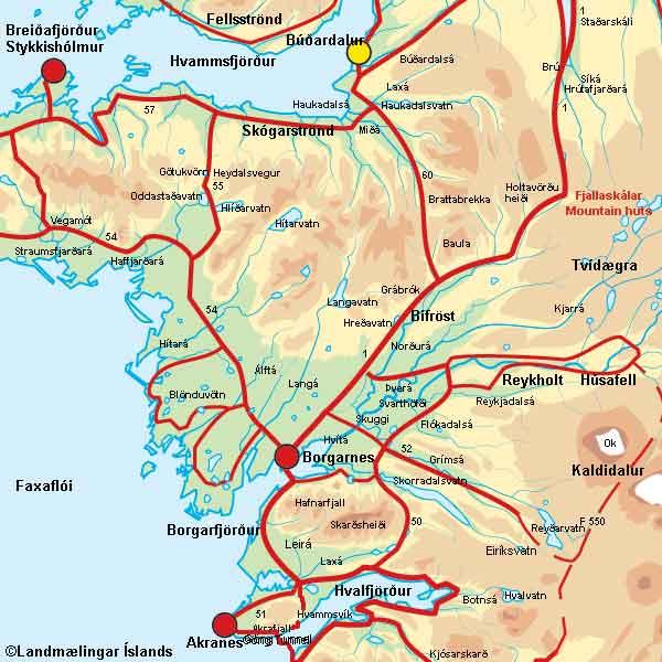 Borgarfjörður Vesturlandi kort