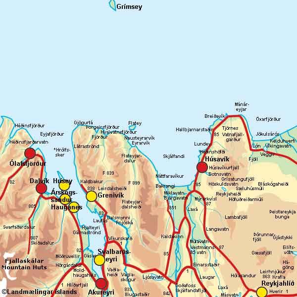 Norðurland kort
