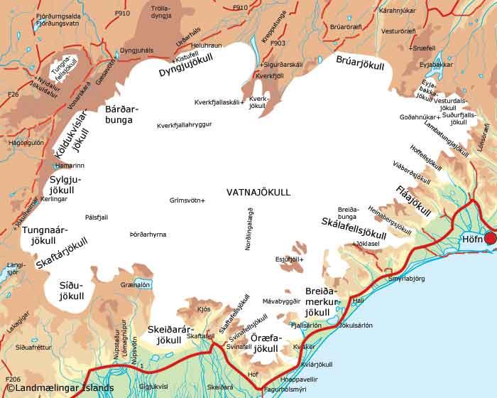 Vatnajökull kort