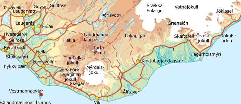 Suðurland kort
